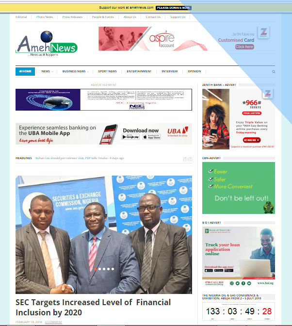 The B A Ameh Company Ltd, Publishes Amehnews, an online platform to serve community of international news portal